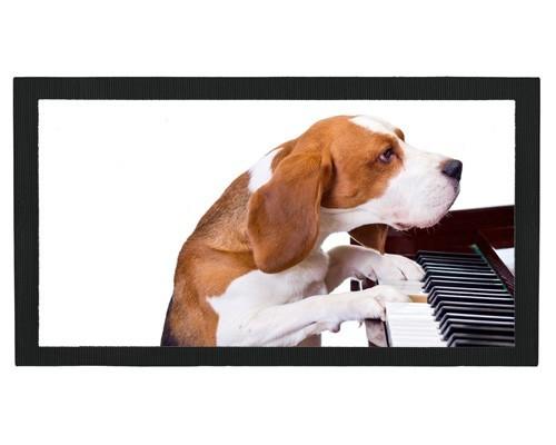 Tapis de bar : Chien pianiste