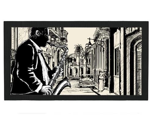 Tapis de bar : Dessin d'un saxophoniste