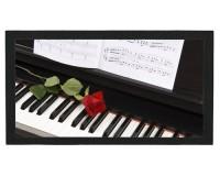Tapis de bar : Piano, rose, partition