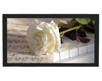 Tapis de bar : Piano, rose blanche, partition