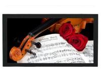 Tapis de bar : Violon, roses, partition
