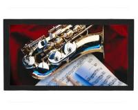 Tapis de bar : Saxophone sur un drap rouge