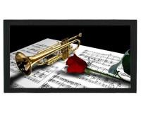 Tapis de bar : Trompette, rose, partition
