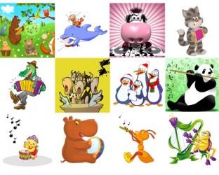 Jeu de mémoire : 12 dessins d'animaux musiciens