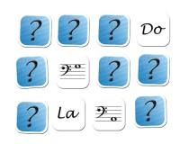 Jeu de mémoire : 12 notes en clé de fa et nom des notes
