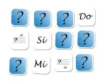 Jeu de mémoire : 24 notes en clé de fa et nom des notes